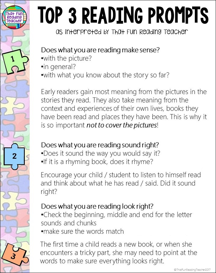Top 3 reading prompts as interpreted by That Fun Reading Teacher | ThatFunReadingTeacher.com