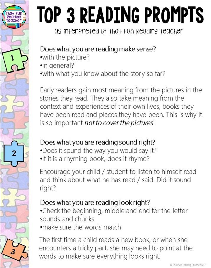 Top 3 reading prompts as interpreted by That Fun Reading Teacher | ThatFunReadingTeacher.com