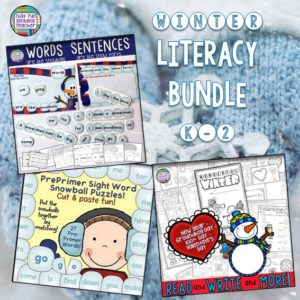 Here's a winter-themed literacy bundle with snowball sight-word puzzles, no-prep, reading and writing activities and a fun words vs. sentences set! $
