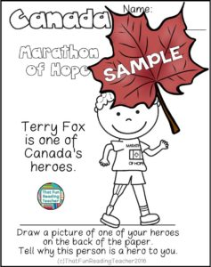 Canada Day Read and Write and More - Terry Fox sample