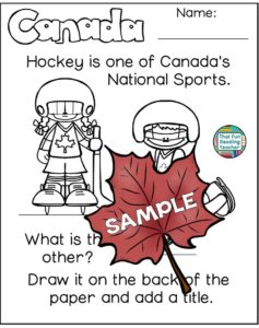 Canada Day Read and Write and More - hockey sample