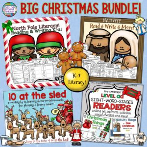 This Christmas / Nativity bundle is filled with fun literacy activities and readers, ready to print for a variety of skill levels K-2! An added bonus? Sing along and count reindeer by twos with Santa himself! $ #christmas #literacy #nativity #readers #alphabet #sightwords #readingstrategies #writing #readingfluency #nativity #kindergarten #primary #education #teaching #fun #printable