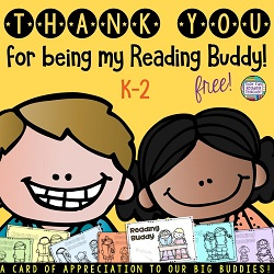 Free Thank you for being my Reading Buddy card